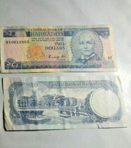 BARBADOS: VINTAGE 2 DOLLARS BANKNOTE