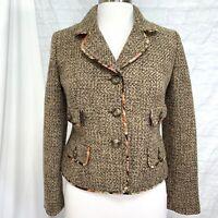LOFT Women's 4P Jacket Blazer NEW NWT Tweed Brown Wool Blend Pockets #B