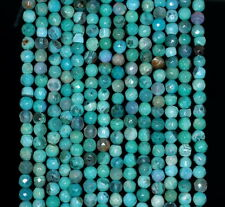 4MM  AGATE GEMSTONE TURQUOISE GREEN FACETED ROUND LOOSE BEADS 15""