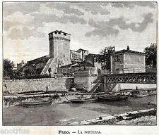 Fano: Rocca Malatestiana. Pesaro-Urbino.Marche.Stampa Antica + Passepartout.1891