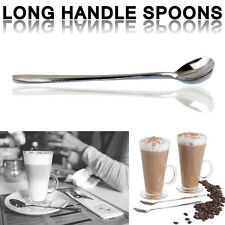 6x Stainless Steel Long Handle Latte Glass Ice Cream Sundae Coffee Spoon 18cm UK