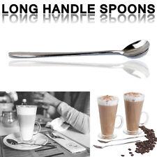 6x Acier Inoxydable Poignée Longue Latte Verre Ice Cream Sundae Cuiller à Café 18 cm UK