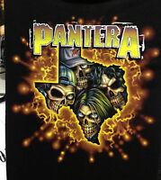 PANTERA SKULL MUSIC BAND T-SHIRT BLACK SHORT SLEEVE UNISEX FRONT PRINT LOGO BACK