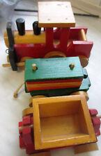 Holz Eisenbahn Zug Lok mit Anhänger aus Holz  Beschreibung lesen!