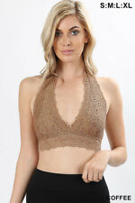 LACE Bralette Halter BRA SEXY Lingerie LINED CUP S/M/L/XL/1X/2X/3X USA FREE Ship