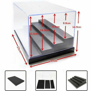 "Acrylic Display Case 9.8""L Clear UV Plastic Box Dustproof Toys Protection 4 Step"