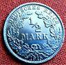 1915 ORIGINAL SILVER GERMAN EMPIRE 1/2 MARK COIN *D* , VERY GOOD GRADE /388