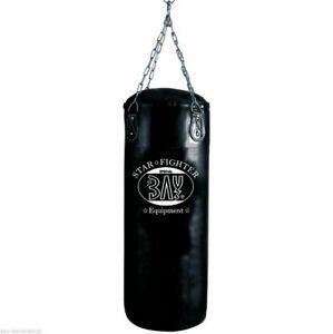 BAY® STAR 80 x 30 cm 20 kg gefüllt Sandsack mit Stahl Kette Boxsack schwarz voll