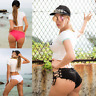 Women lace-up shorts low waisted ripped hole mini short denim pants hot jeans