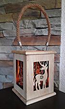 ❀ Laterne Holz Äste Rentier Hirsch 18cm Braun Teelichtglas Weihnachten Natur 143