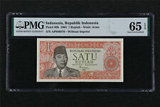 1964 Indonesia Bank Indonesia 1 Rupiah Pick#80b PMG 65 EPQ Gem UNC