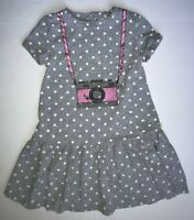 Kate Spade Girls Pink Glitter Camera Dress Gray Polka Dot Ruffle Hem Size 6