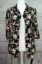 ~~ATMOSPHERE BLACK FLORAL PRINT COTTON JACKET COAT 3/4 SLEEVE