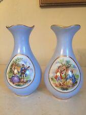 Vintage M & R Limoges France Mini Vase Set Of 2! Blue, Numbered!