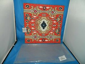 """NEW KIM SEYBERT Placemat Set of 4 Beaded Nomad Coral Ivory Color, 15"""" Square"""