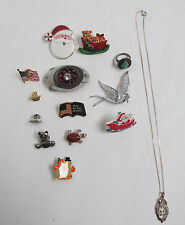 VINTAGE BROOCHES PINS BELT BUCKLE AVON NECKLACE, TORQUOISE RING LOT