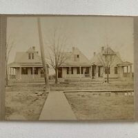 Antique Cabinet Card Photo Homestead Houses New Neighborhood Man On Porch