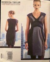 Vogue V1316 Pattern Designer Rebecca Taylor Contrast Dress UC Size 4-12 OR 12-20