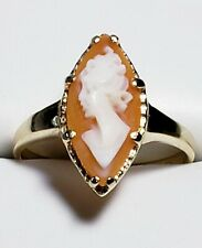 Vintage 10k Yellow Gold Marquise Cameo Ring Size 6 / Anillo de Oro