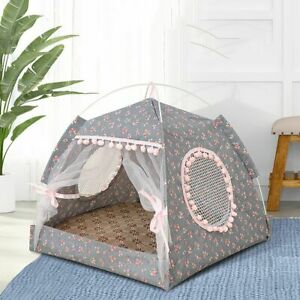 Mat Summer With Cushion Mesh Dog Cages Pet Bed Cat Sleeping House Pet Tent