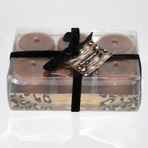 Set of 6 Pier 1 votive candles AMBER AND MUSK NEW in box brown
