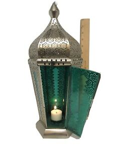 """Vintage Silver Moroccan Style Candle Lantern Blue Glass Pillar Lamp 16"""" Tall"""