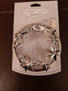 2016 Yankee Candle Holiday Stars Jar Candle Topper Illuma Lid Silver Metal Star