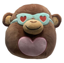 """Squishmallows 8"""" Brown Monkey BOYD Sunglasses Heart Valentines 2021 - FREE SHIP"""