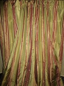 RESTORATION HARDWARE SILK SANGRIA GOLD GOLD STRIPE (2) LINED PANELS 48 X 107
