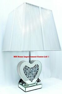 Love Heart Bedside Table Lamp Sparkly Diamond Crush Crystal Silver Square Shade