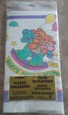 """1st First Birthday Tablecloth Bears Rocking Horse 54"""" x 84"""" Baby Party Colored"""