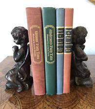 Reduced! Rare! Pair Superb Bronze Angel Cherub Art Statue Sculpture Bookends