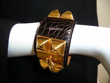 Hermes Maroon Brown CDC Alligator Collier de Chien Cuff Bracelet GHW New