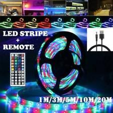 3528 RGB LED Strip Lights IP33 1-20M 12V 44key IR Controller Adapter W/USB Cable