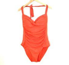 Liz Claiborne One Piece Ruched Halter Swimsuit Size 16W Coral