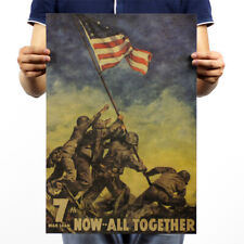 """Poster Vintage Motivational Wall Decor World War 7th Now All Together 14x20"""""""
