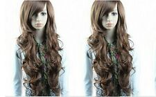 Women Light Brown Long Wave Curly Cosplay Party Full Wig+Cap 50%Human Hair PO124