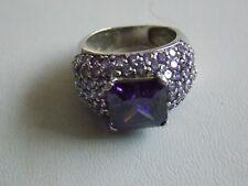 Gorgeous Showy Purple & Lilac CZ & Sterling Silver Ring Sz M