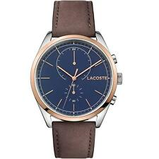 New Store Display Lacoste Mens 44mm Brown Leather Band Blue Quartz Watch 2010917