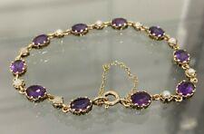 Vintage 9k Solid Gold w/ Amethyst & Pearl Bracelet 8.10g / 17.5cm