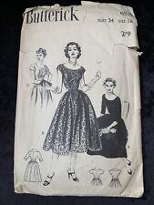 Vintage 1950's Butterick Cocktail Dress Pattern No. 6578 - Size 16 Bust 34