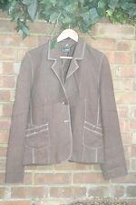 L'espoir Classic Women's Jacket Blazer Brown Fashion Designer 100% Linen Size 44