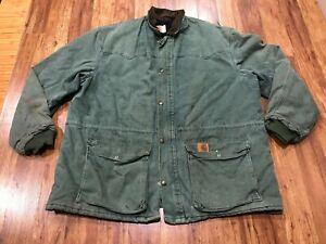 MENS XL - Vtg Carhartt CQ7194 Sandstone Flannel Quilt Barn Chore Coat Jacket