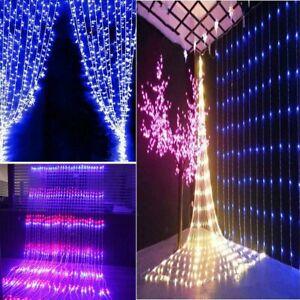 3*3M 320LED Waterfall LED Window Curtain Light String Fairy Wedding Party Xmas