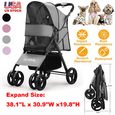 4 Wheel Folding Pet Stroller Cat Dog Cage Stroller Portable Travel Carrier Black