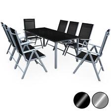 Conjunto de 1 Mesa y 8 sillas de Aluminio anchas reclinables muebles de jardín