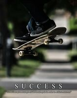 Skateboarding Motivational Poster Print Skateboard Wheels Kids Wall Art Decor