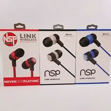 Never Stop Playing NSP Link Bluetooth Magnetic Earbuds Blue Red Black New Sealed