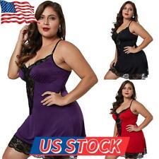 Plus Size Women Sexy Lingerie Lace Babydoll Nighdress Dress Ladies Nightwear US