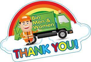 THANK YOU BIN MEN Rainbow Wheelie Bin Vinyl Sticker 210mm Wide